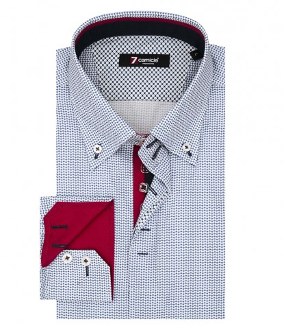 Camicia Uomo 2 Bottoni Button Down Slim Popeline Stampato BluBianco