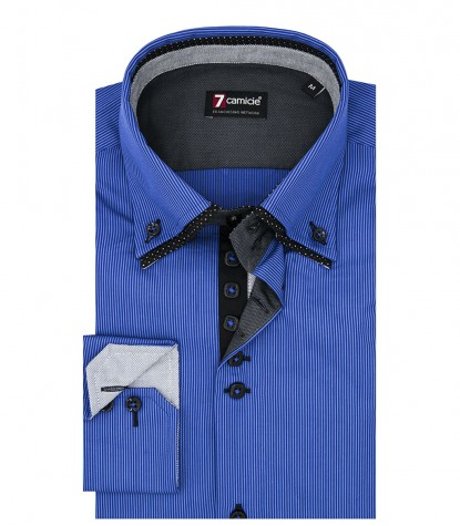 Camicia Uomo 2 Bottoni Button Down 7Bottoni Doppio Collo Slim Satin Riga Stretta Bluette/Blu