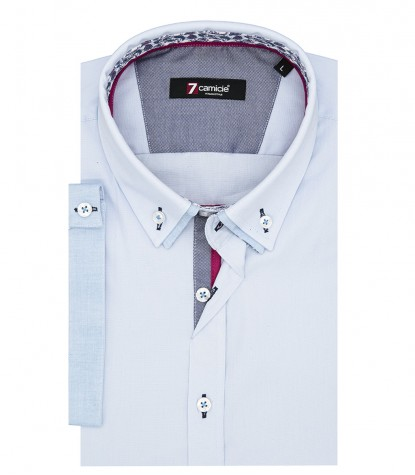 Camicia Uomo Slim 1 Bottone Button Down Doppio Collo POPELINE STRETCH UNITO Celeste