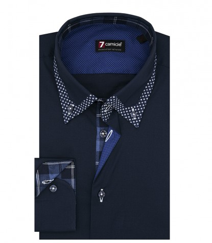 Camicia 1 Bottone Button DownUomo Slim POPELINE STRETCH UNITO Blu