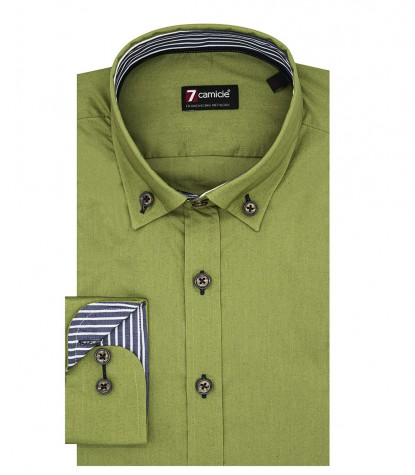 Camicia Uomo 1 Bottone Button Down Slim POPELINE STRETCH UNITO Verde Militare