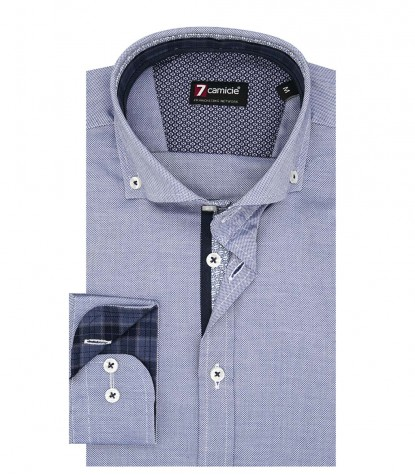 Camicia Uomo 1 Bottone Button Down Slim Oxford unito Blu