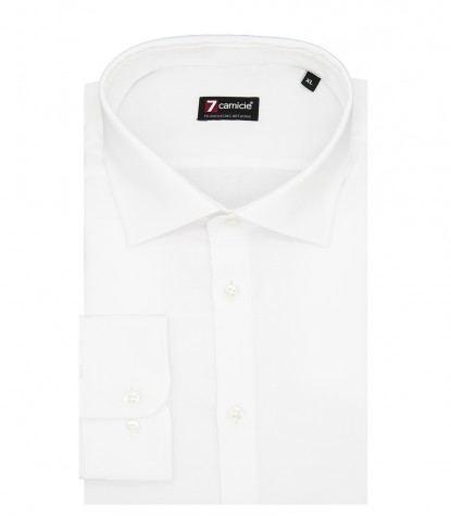 Camicia Uomo 1 Bottone Francese Slim Oxford unito No Iron Bianco