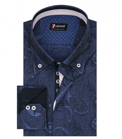 Camicia Uomo 2 Bottoni Button Down Slim Jacquard Fantasia Blu/Bluette