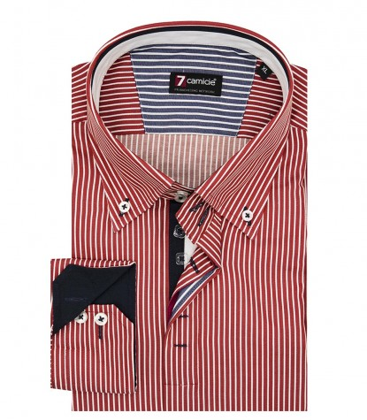 Camicia Uomo 2 Bottoni Button Down Slim Satin RigaStretta RossoBianco