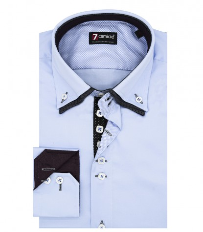 Camicia Uomo 2 Bottoni Button Down 7Bottoni Doppio Collo Slim Satin Unito Celeste