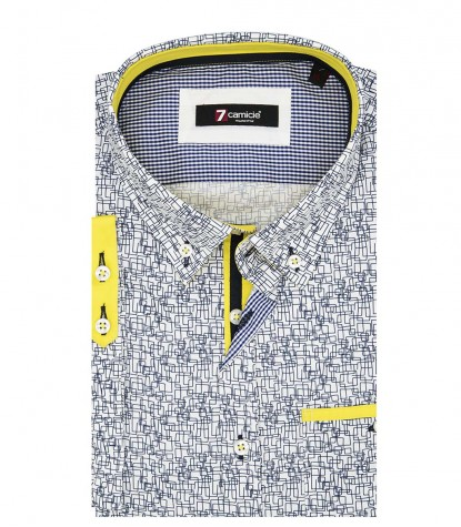 Shirt Leonardo Poplin White and Blue