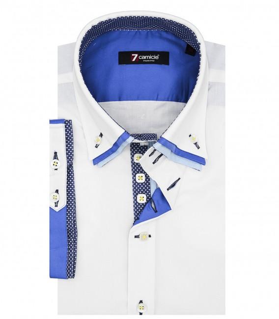 Camicia Uomo 2 Bottoni Button Down Triplo Collo Slim POPELINE STRETCH UNITO Bianco