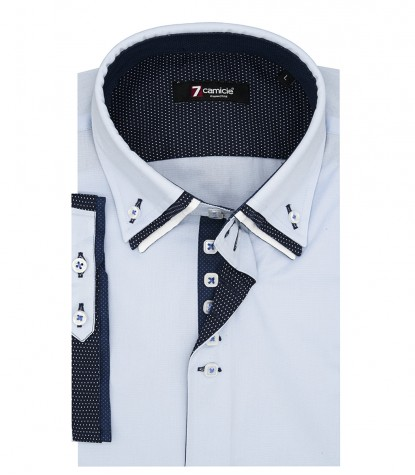 Camicia Uomo 2 Bottoni Button Down Triplo Collo Slim POPELINE STRETCH UNITO Celeste