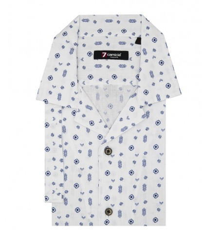 Short Sleeve Man Shirt Linen Pattern White and Blue