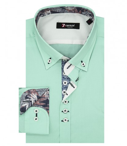 Shirt Donatello stretch poplin Water Green