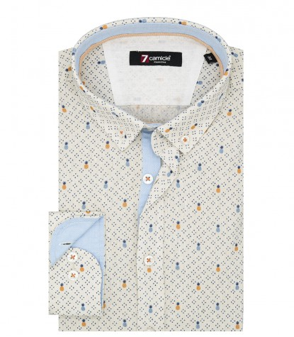 Shirt Leonardo Linen Beige and Blue
