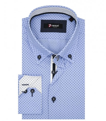 Shirt Roma Poplin Light Turquoise and Blue