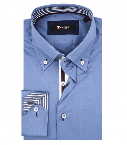 Chemises Roma Satin avion bleu