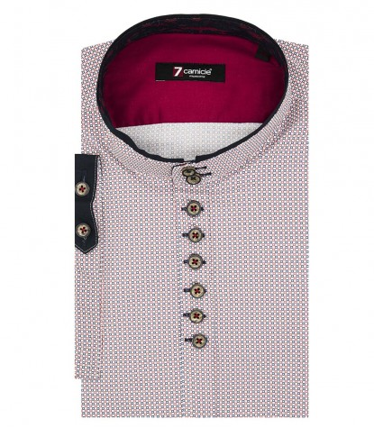 Shirt Caravaggio Poplin White and Red
