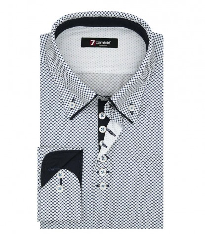Shirt Donatello Poplin White and Blue