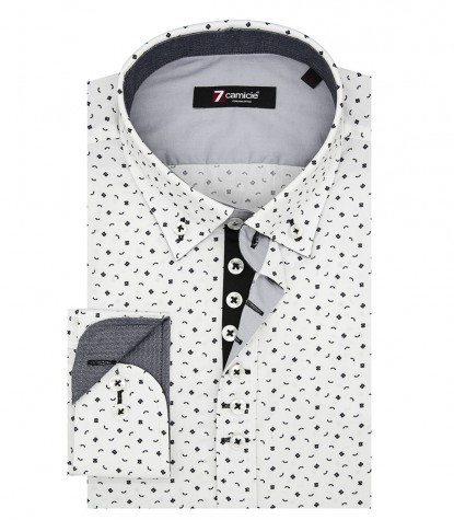 Shirt Donatello Poplin White Black