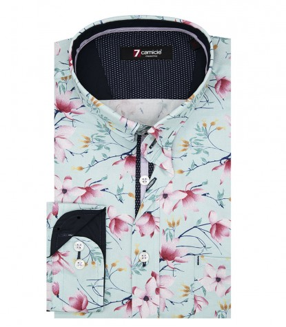 Shirt Romeo twill Green Pink