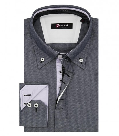 Shirt Roma jacquard Dark Grey