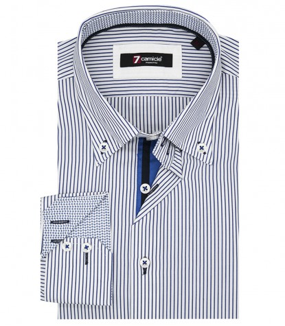 Shirt Roma Poplin White and Blue