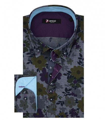 Camisas Donatello Oxford Gris Azul