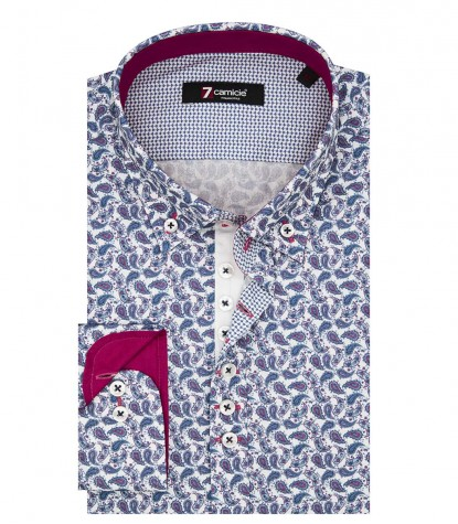 Shirt Donatello Poplin Blue Fuxia Pink