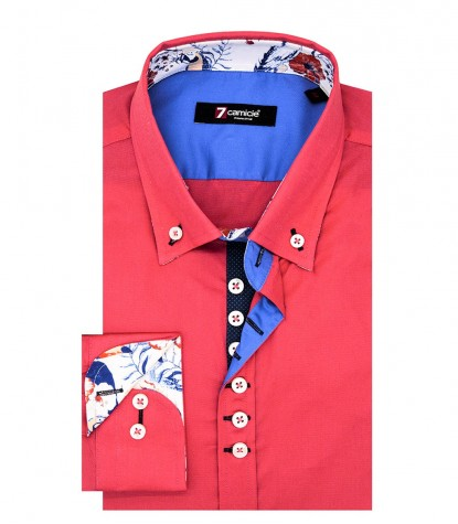 Shirt Donatello stretch poplin Coral