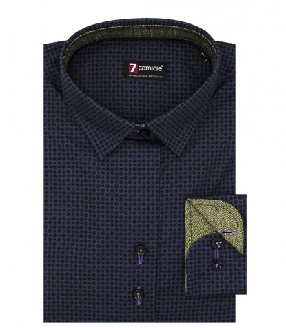 Camicia Donna 2 Bottoni Italiano Avvitata Slim Popeline Stampato Melanzana e Verde