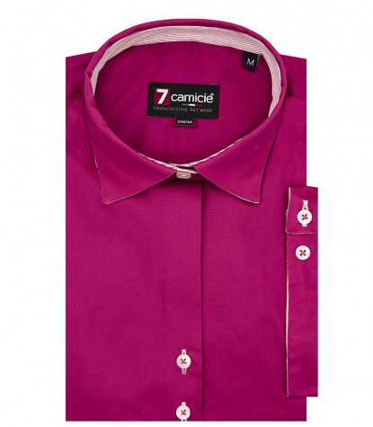 1 Button Italian Collar Woman Shirt Popeline Stretch Plain Fuchsia