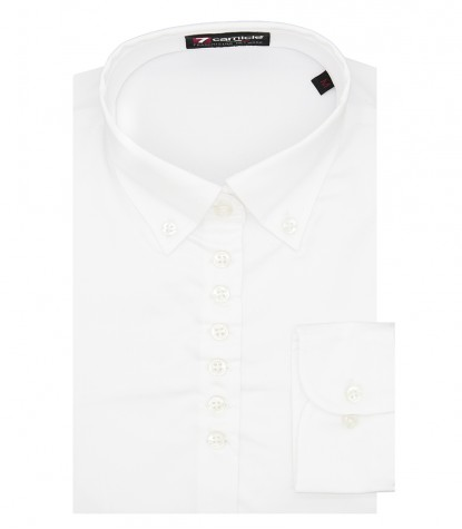 Camicia Donna 1 Bottone Button Down Slim Satin Unito Bianco