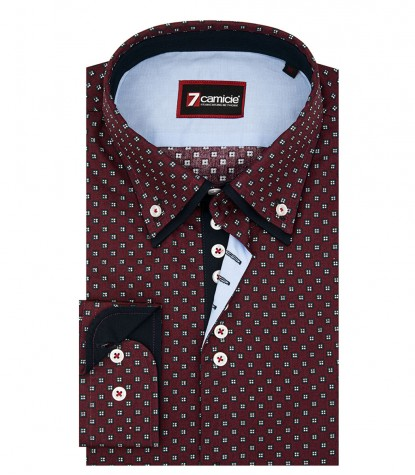 Shirt Donatello Cotton BordeauxWhite