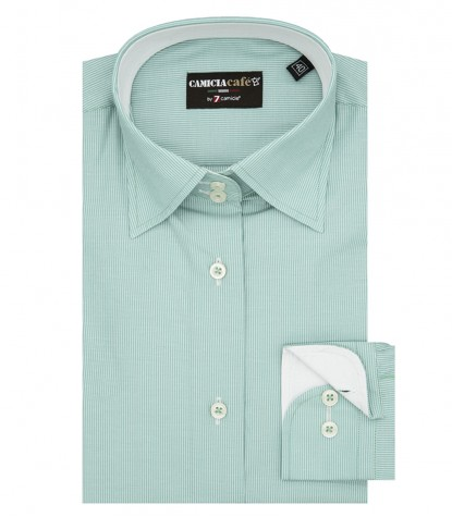 Shirt Linda Cotton Polyester Water Green and White