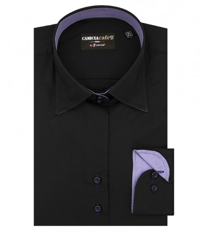 Shirt Linda Cotton Polyester Black