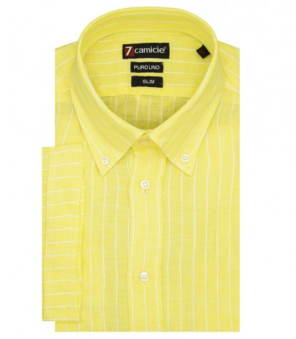 Camicia Uomo Lino 1 bottone Button Down Gialla