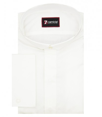 Man shirt Oxford 1 button small collar slim White