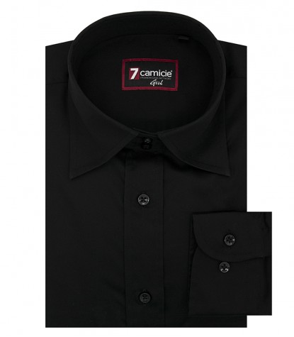 Camicia Donna manica lunga 2 bottoni collo italiano nero