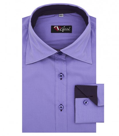 Camicia donna 2 bottoni collo italiano viola