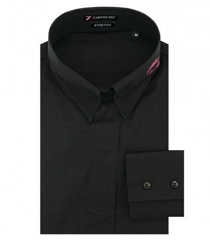 Camicia donna 1 bottone collo italiano nero