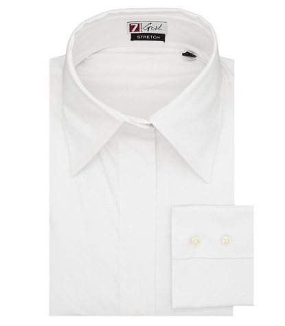 Woman shirt 1 button Italian collar white