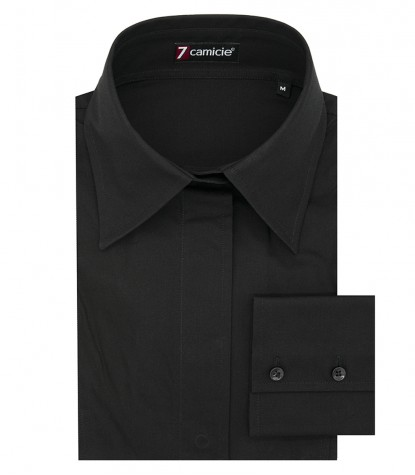 Camicia donna 1 bottone collo italiano nero manica lunga