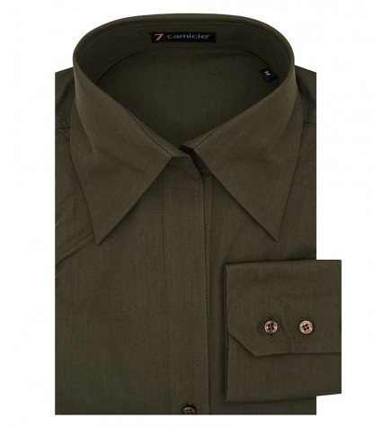 Women's green poplin shirt with Italian collar