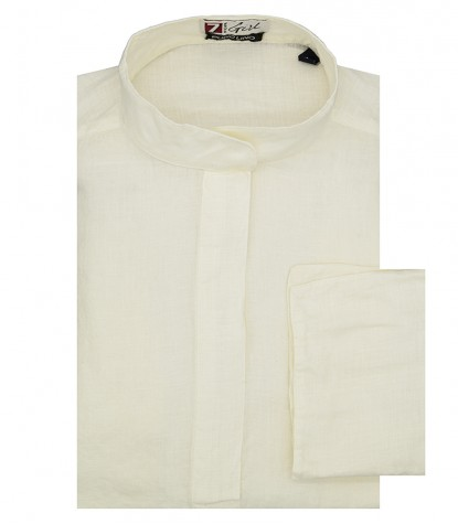 Woman White Linen Shirt Korean Collar