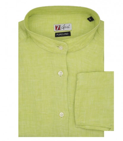 Green Linen Woman Shirt Korean collar 1 button