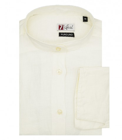 Woman White Linen Shirt Korean collar 1 button