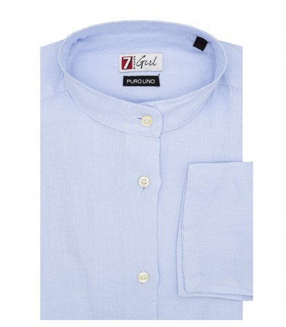 woman-shirt-linen-korean-collar-1 button-light blue-6803