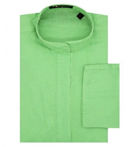 Green Linen Shirt Korean collar without buttons