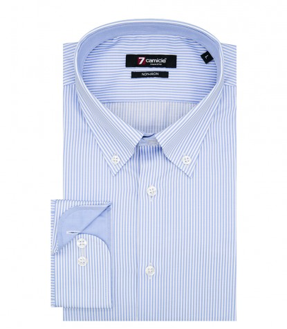 Shirt Men stripe line White Light Blue