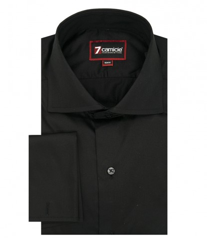 2-button French slim man shirt Black