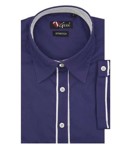 Woman shirt 1 soft button Purple poplin short sleeve