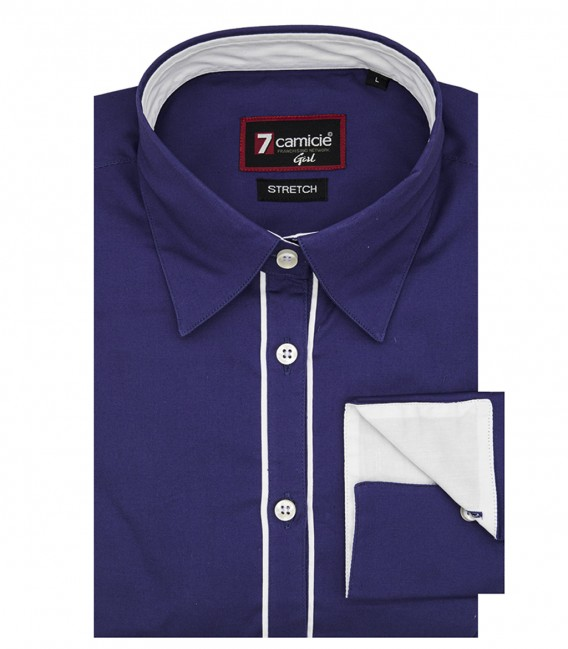 Camicia Donna 1 bottone morbido Viola popeline stretch